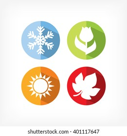 four seasons icons vector illustration. winter spring summer autumn icons.
