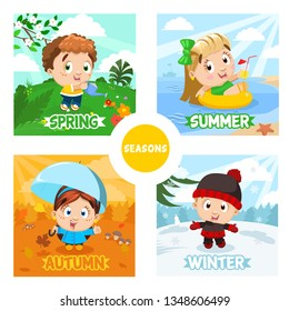 Four seasons and kids. Spring boy pours flowers, summer girl swims on water donut in the sea or river, autumn girl walks in the forest with umbrella, winter boy in warm clothes stand on snow. Cartoon.