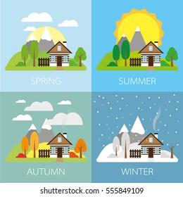 Four seasons - landscape with house, flat vectors