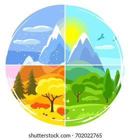 Four seasons landscape. Illustrations with trees, mountains and hills in winter, spring, summer, autumn