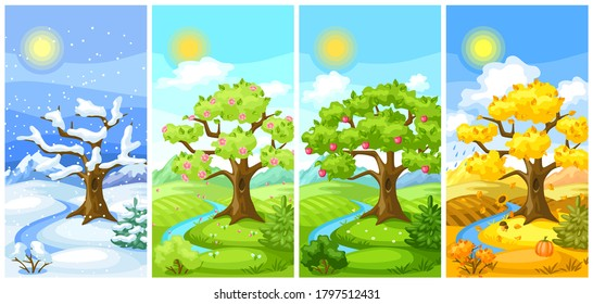 Four seasons landscape. Natural illustration with trees, mountains and hills in winter, spring, summer, autumn.
