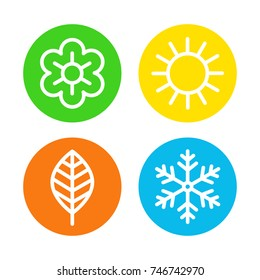 Four seasons logo set. Spring, summer, autumn and winter round icons, four astronomical seasons of the year kid decoration. Vector flat style cartoon illustration isolated on white background