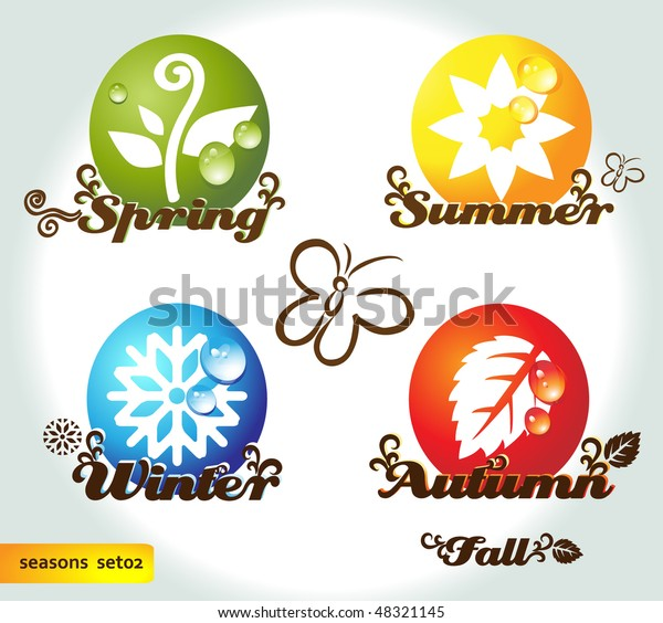 Four Seasons Names Elements Stock Vector (Royalty Free) 48321145
