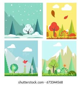 Four seasons nature landscape winter, summer, autumn, spring vector flat scenery