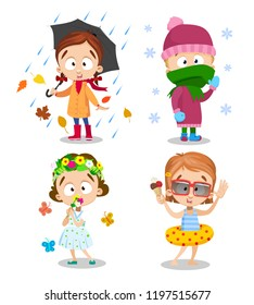 Four seasons outdoors kids activity set. Happy girl wearing cute dress with bouquet of flowers. Little girl with open umbrella under rain. Child in swimwear and inflatable ring vector illustration.