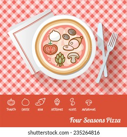 Four seasons pizza on a dish with icon ingredients and recipe name at bottom