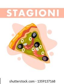 Four Seasons Pizza Slice Flat Vector Illustration. Pizza Quattro Stagioni. Fast Food Restaurant Menu Cartoon Design Element. Classic Italian Dish. Olives and Seafood on Baked Dough