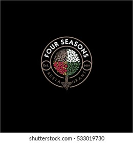 Four Seasons restaurant logo. Restaurant or hotel emblem. Wood as the seasons in a circle with the letters.