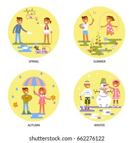 Four seasons set with babies. Different weather in Flat design boy and girl. Autumn, winter, spring, summer. Cartoon characters, illustration vector eps10