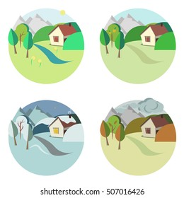 Four seasons set: spring, summer, autumn and winter. House in the mountains