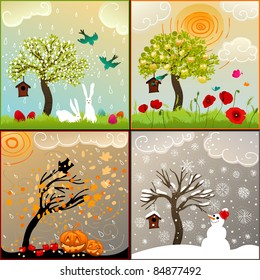 Four seasons set with tree, birdhouse, birds, pumpkin lanterns and snowman