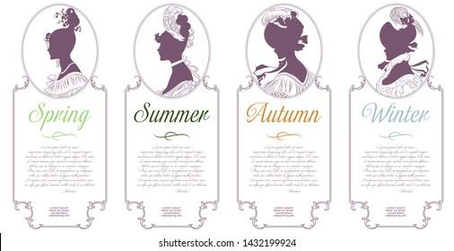Four seasons. Spring, summer, autumn, winter. Female cameo for design.