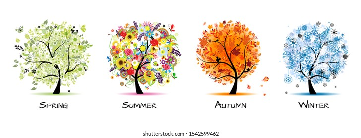 Four seasons - spring, summer, autumn, winter. Art tree beautiful for your design. Vector illustration