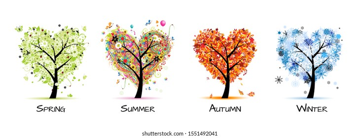Four seasons - spring, summer, autumn, winter. Art tree beautiful for your design. Vector illustration