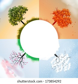 Four Seasons Spring, Summer, Autumn, Winter Banners with Abstract Trees - Vector Illustration