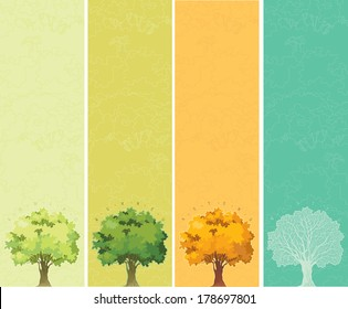 Four seasons - spring, summer, autumn, winter. Trees with green, yellow and orange leaves. Tree without leaves at winter.