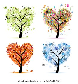 Four seasons - spring, summer, autumn, winter. Art tree heart shape for your design