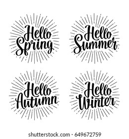 Four seasons stickers set. Hello Winter, Spring, Summer and Autumn hand drawn lettering with rays. Vector black illustration isolated on white
