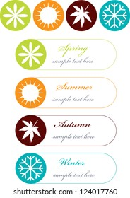 four seasons symbols with frames for text isolated on white background,colorful vector labels