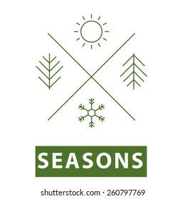 Four seasons thin line icon.Vector illustration.
