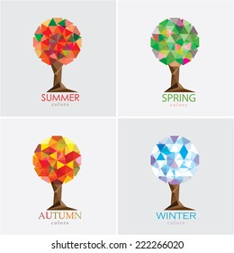 four seasons tree vector illustration- modern polygonal low poly style- set collection
