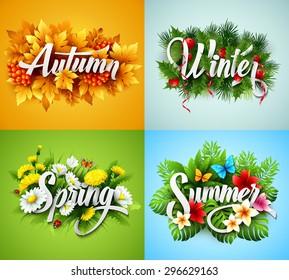 Four Seasons  Typographic Banner. Vector illustration EPS 10