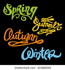 Four seasons vector calligraphic set: spring, summer, autumn, winter. Hand drawn words vector. Vector illustration.