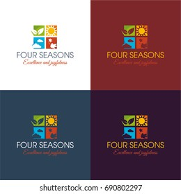 Four Seasons - Vector Illustration. A logo featuring an icon of four squares that each represent a different season.