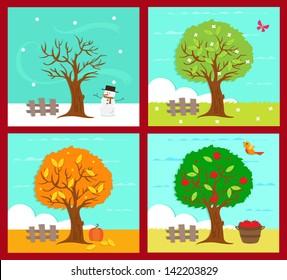 The Four Seasons - Vector illustration of the four season. Eps10