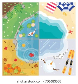 four seasons vector with pond, beach and garden