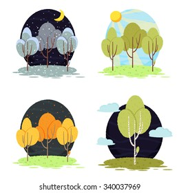 Four seasons vector trees set. Illustration with trees, grass and sky.