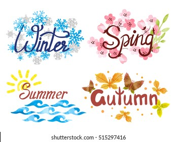 Four Seasons - winter, spring, summer, autumn. Vector watercolor illustration.