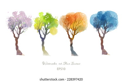 Four seasons.Watercolor vector set of trees