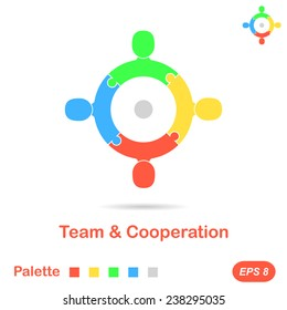 Four segment concept of team working, 2d flat illustration, vector, eps 8