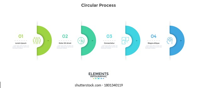 Four semi-circular elements placed in horizontal row. Concept of 4 successive stages of project development process. Modern infographic design template. Simple vector illustration for progress bar.