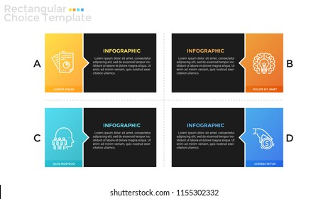 Four separate coloful rectangular elements with linear symbols and place for text inside. Concept of 4 business options to compare. Infographic design template. Vector illustration for brochure.
