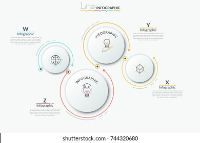 Four separate paper white round elements of different size with thin line pictograms inside and text boxes. Modern infographic design template. Vector illustration for brochure, presentation, report.