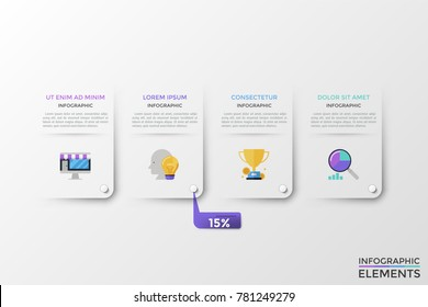 Four separate white rectangular elements with flat colorful icons, text boxes inside and pop up percentage indication. Concept of 4 important features of company services. Vector illustration.