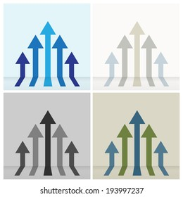 Four set of colorful five arrows going up ,can be use for abstract business sign or background. Vector EPS 10.