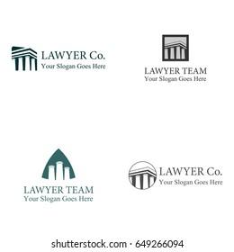 Four set pillar building logo template