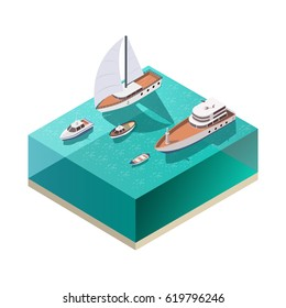 Four ships of different size floating on water isometric composition on white background 3d vector illustration