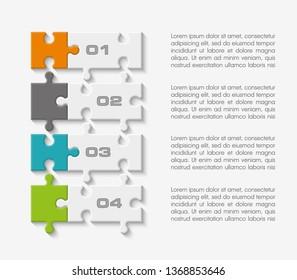 Four sided 3d round puzzle presentation. Abstract puzzle infographic template explanatory text business statistic. Vector 4 pieces puzzles illustration. Section four circle compare service banner