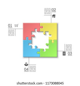 Four sided 3d square puzzle presentation. Abstract puzzle infographic template explanatory text field for business statistics. Vector 4 pieces puzzles illustration. Section four compare service banner