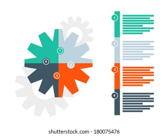 Four sided round puzzle gear presentation infographic diagram template with numbered explanatory text field on white background