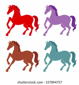 Four silhouette of horse