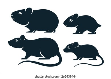 Four silhouettes of rodents.