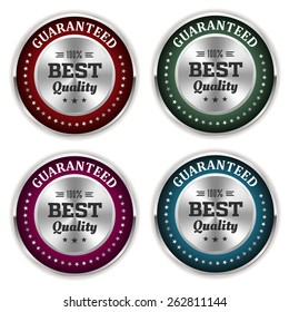Four silver best quality badges with different colors