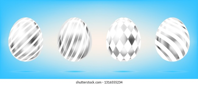 Four silver eggs on the sky blue background. Isolated objects for Easter decoration. Stripes and diamonds ornate