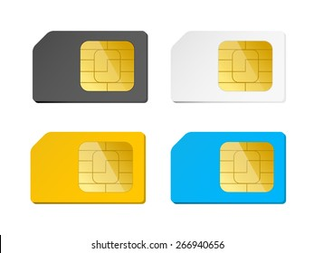 four sim cards black, white, blue, yellow, vector illustration