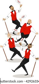 Four singers in traditional stage costumes performing barbershop quartet style song, EPS 8 vector illustration